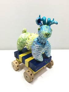 Pull Toy with Curly Horns, Blue-Yellow-Green