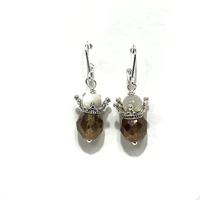 Earrings - Czech Glass and Mother of Pearl Beads on Sterling Silver wire