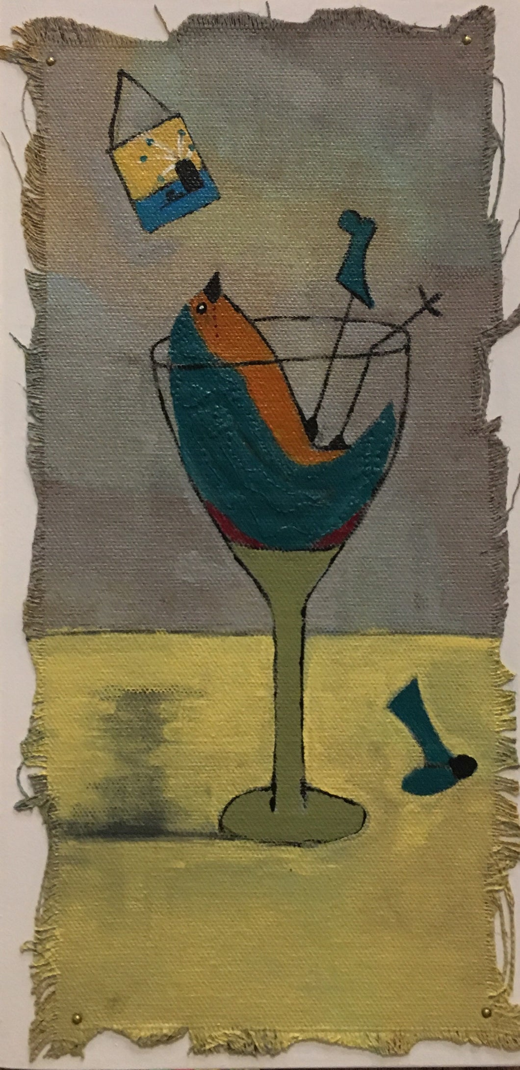 Blue Bird in Wine Glass