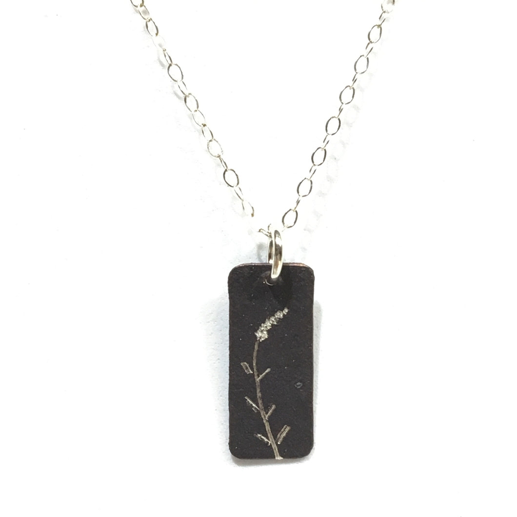 Oxidized Sterling Pendant - Butterfly Bush