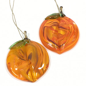 Flat Glass Peach Ornament
