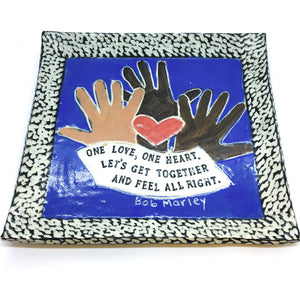 Large Square Platter - One Love