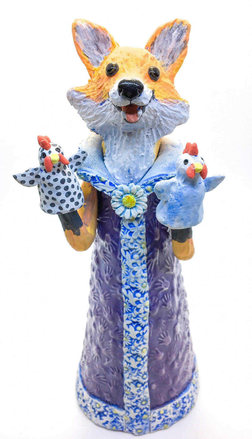 Fox with Hen Puppets Sculpture