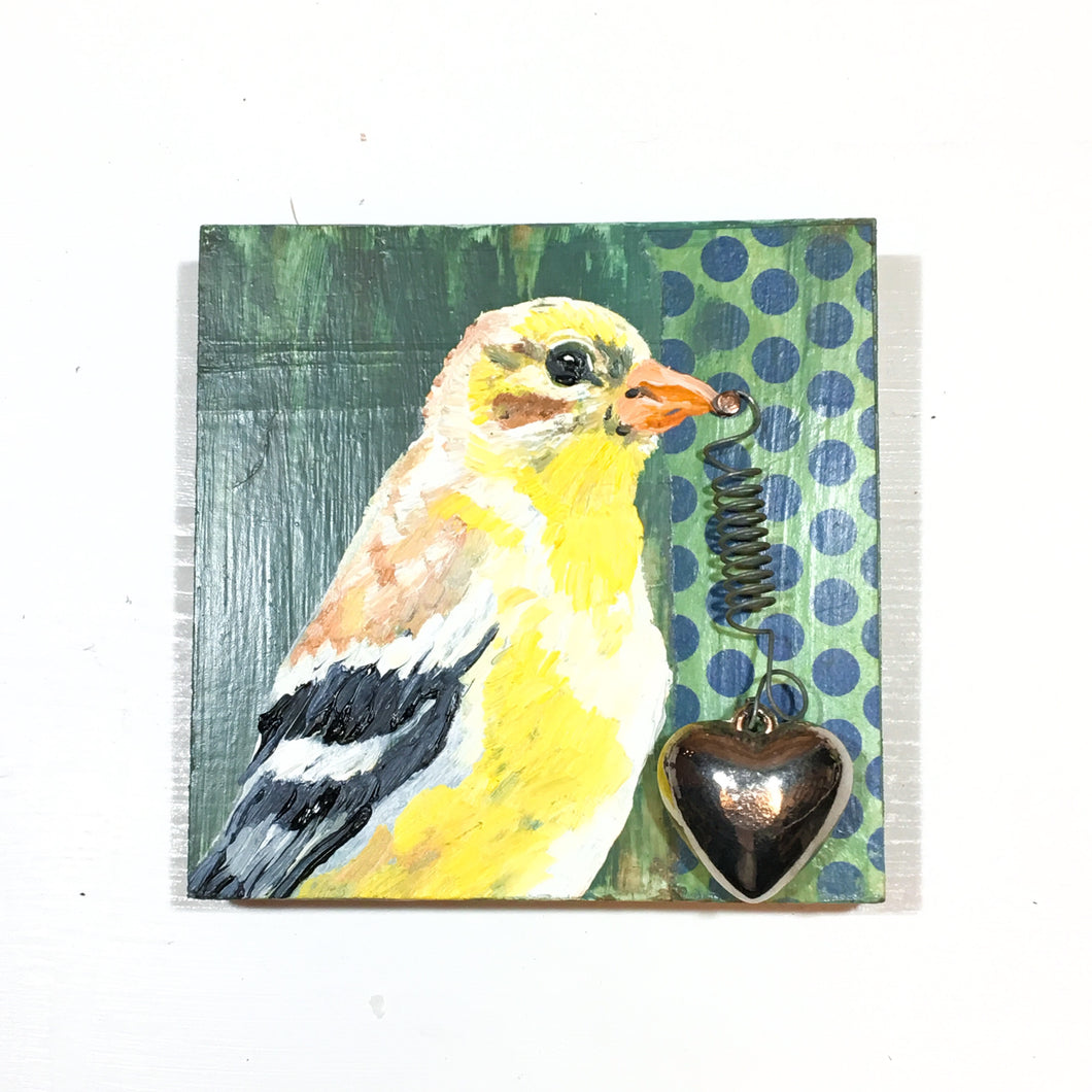 Pine Warbler with Heart