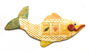 Ceramic Fish - Live Love Laugh