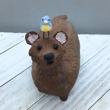 Ceramic Brown Bear with Blue Bird
