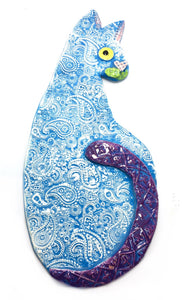 Hanging Cat - Blue Paisley