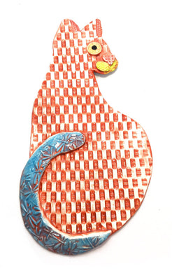 Ceramic Hanging Cat - Red Basket Weave