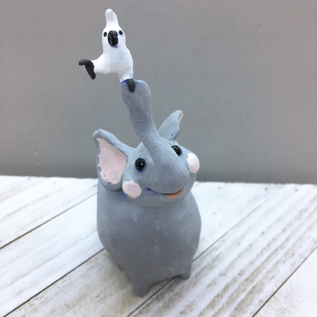 Ceramic Elephant with white bird