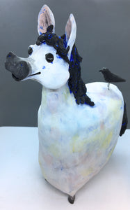 Ceramic Horse with Black Bird - Large