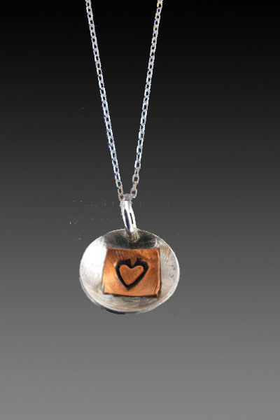 Heart charm necklace - mixed metal