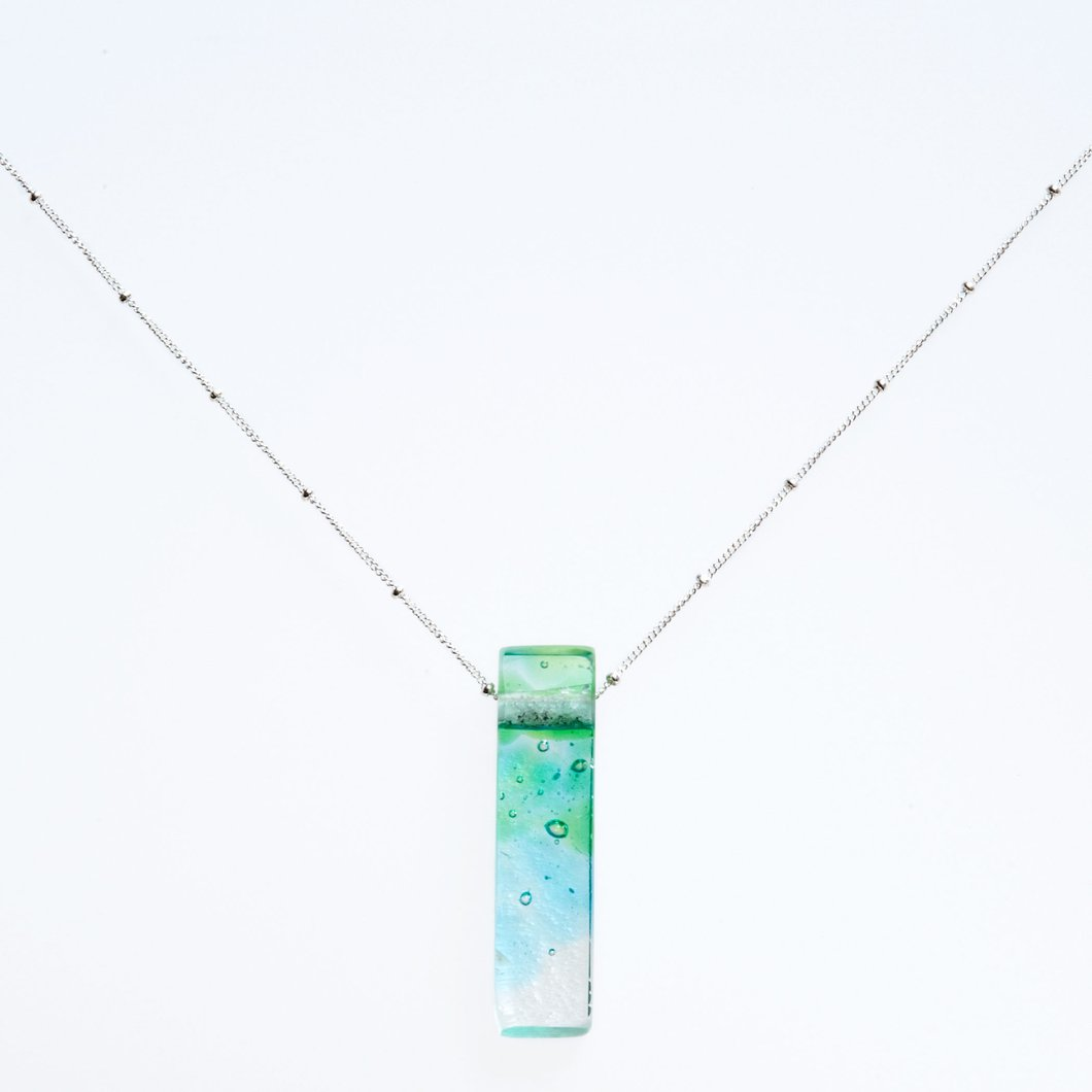Mosaic Stiletto Sterling Silver Necklace