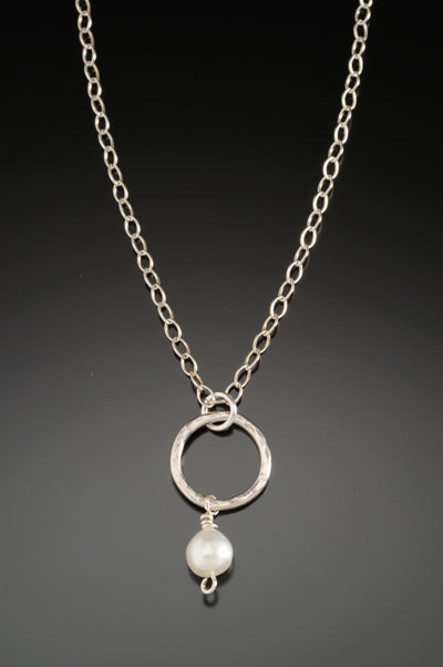 Small Hoop and Pearl Pendant