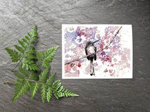 Bird with Purple and Pink Lace Greeting Card