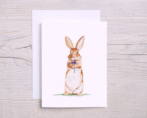 Rabbit with Flower Greeting Card