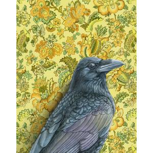 Raven on yellow