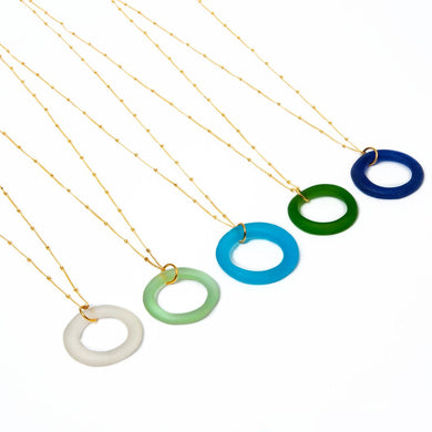 Seaglass Style Simple Necklace on Gold Fill Chain