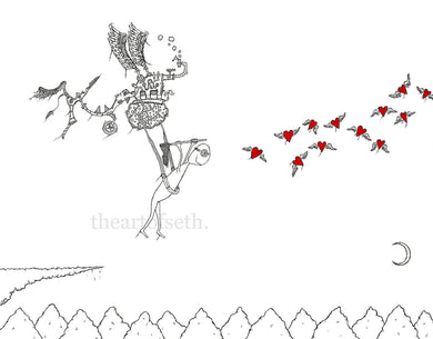 Creatures of the Heart print - So Oliver built himself a flying machine...
