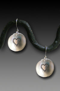 Heart earrings - sterling silver