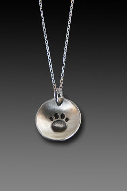 Paw charm necklace - sterling silver