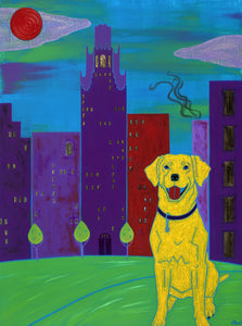 """The Accidental Tourist"" - Yellow Labrador Matted Print"