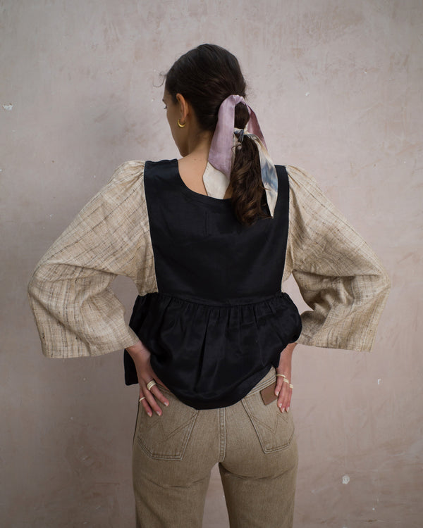 Kelci blouse patchwork NERO