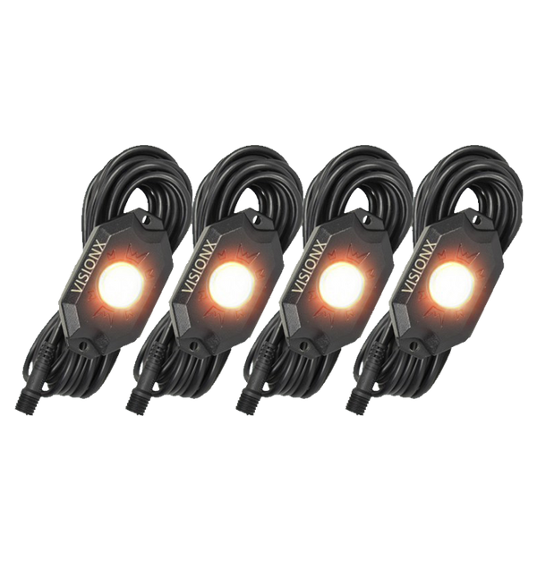 9 WATT LED ROCK LIGHT 4 POD KIT AMBER