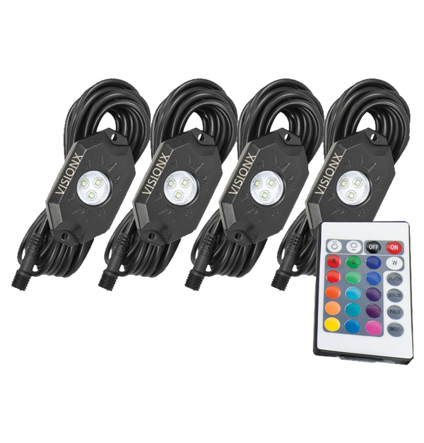 9 WATT LED ROCK LIGHT 4 POD KIT MULTI