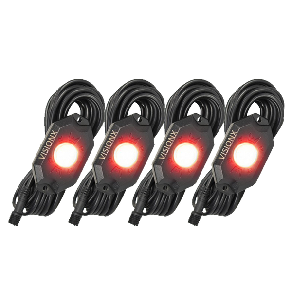 9 WATT LED ROCK LIGHT 4 POD KIT RED