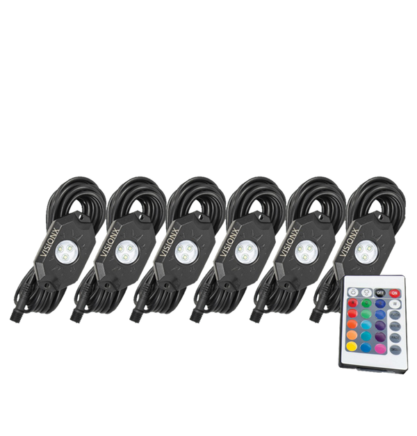 9 WATT LED ROCK LIGHT 6 POD KIT MULTI