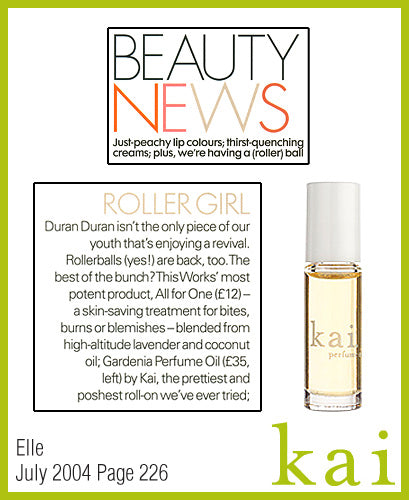 kai fragrance featured in elle july 2004