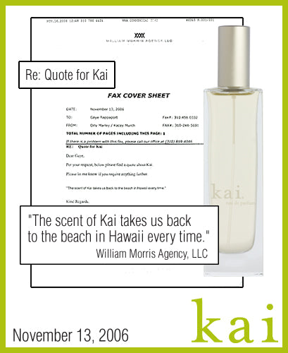 kai fragrance featured in william morris agency november 2006