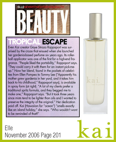 kai fragrance featured in elle november 2006