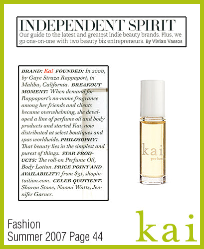 kai fragrance featured in fashion summer 2007