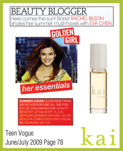 kai fragrance featured in teen vogue  june/july, 2009