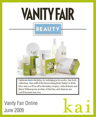 kai fragrance featured in vanity fair online june, 2009