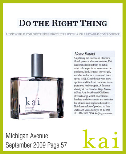 kai fragrance featured in michigan avenue september, 2009