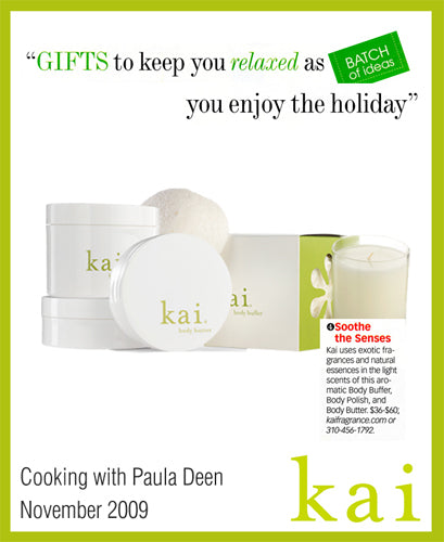 kai fragrance featured in cooking with paula deen november, 2009