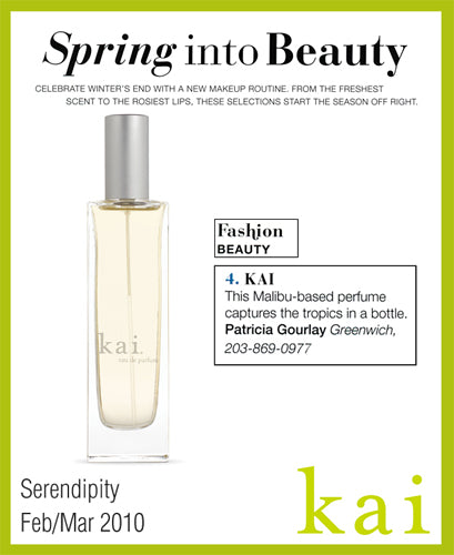 kai fragrance featured in serendipity february/march,  2010
