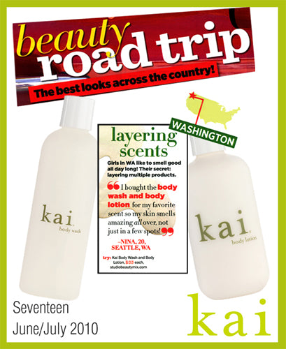 kai fragrance featured in seventeen june/july, 2010