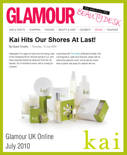 kai fragrance featured in glamour uk online july, 2010