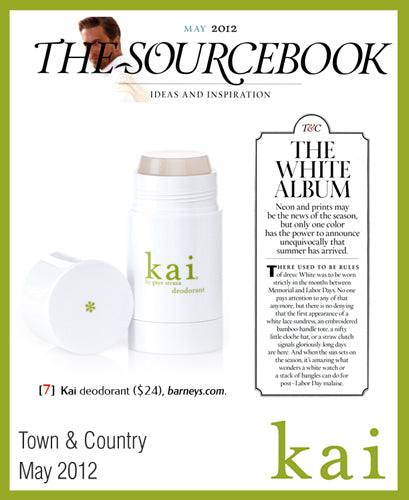 kai fragrance featured in town & country may, 2012