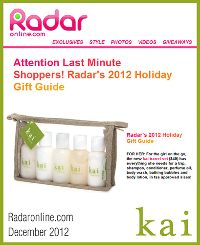 kai fragrance featured on radaronline.com december, 2012