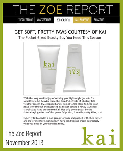 kai featured in the zoe report november, 2013