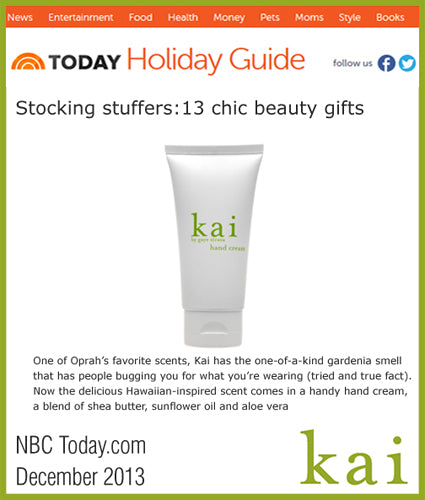 kai featured in nbc today - online december, 2013