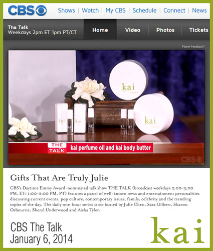kai fragrance featured in cbs - the talk january 2014