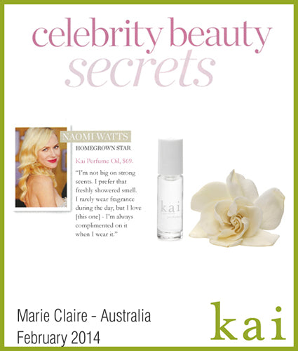 kai fragrance featured in marie claire - australia february 2014