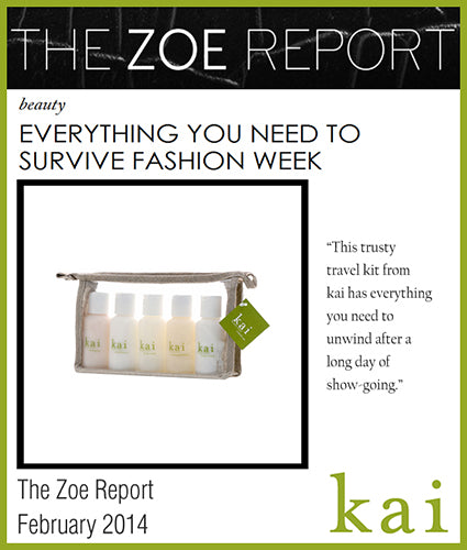 kai fragrance featured in the zoe report february 2014