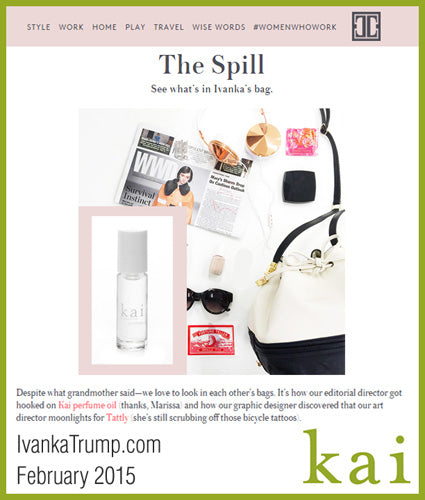 kai fragrance featured in ivankatrump.com february 2015