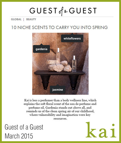 kai fragrance featured in guest of a guest march 2015